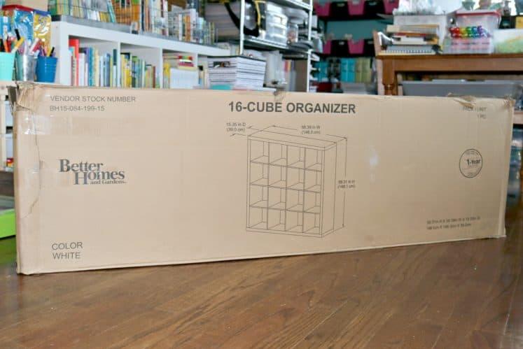 16-cube organized in original box on craft room floor