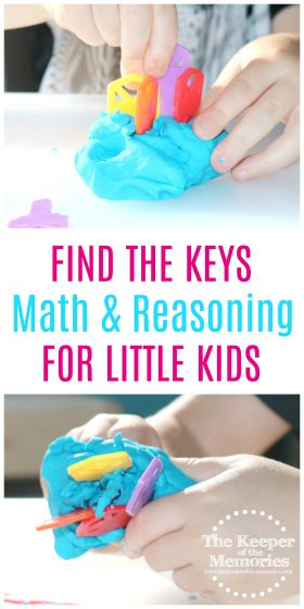 Try this quick & easy math activity with your preschoolers. Little kids get to find the keys and learn counting and color sorting in the process! Check it out!