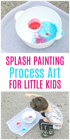 OMG! Loving this Splash Painting process art for little kids. So awesome for teaching cause and effect as well as basic Physics concepts.
