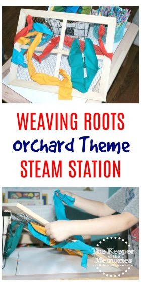 collage of colorful fabric stripe woven through chicken wire frame with text: Weaving Roots Orchard Theme STEAM Station