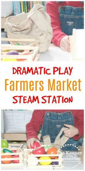 Here's a fun Preschool Farmers Market Dramatic Play Investigation Station. We used this activity with our orchard theme, but it would totally work for a health, nutrition, or farm theme too. Talk about versatile, right?
