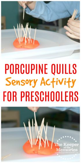 If you're planning a preschool orchard theme, then you're definitely going to want to check out this quick & easy Porcupine Quills Sensory Activity for Little Kids. And best of all, you only need Play-Doh and tooth picks. How can you go wrong with that?
