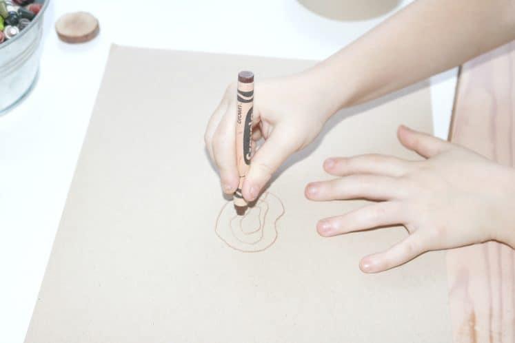 preschooler using crayon to draw tree rings