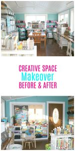 Make an awesome family workspace for crafts and homeschool... #craftroom #studio #homeschoolroom #creativespace