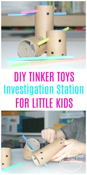 Make your own DIY Tinker Toys with your little kids! Toddlers and Preschoolers will love building with them. If you're looking for ideas for a Transportation or Engineering theme, then you're definitely going to want to check them out!