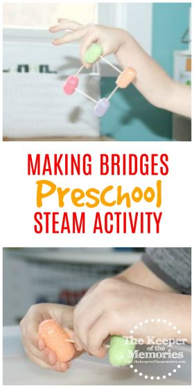 Make bridges with your little kids using things you already have around the house! Check out this quick & easy STEAM Investigation Station for preschoolers. What an awesome way to build problem-solving and engineering skills for your next Transportation theme! #transportation #steamstation