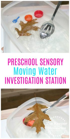 moving water sensory activity with text: Preschool Sensory Moving Water Investigation Station