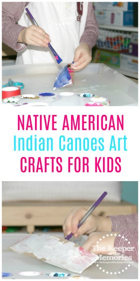 Here's an awesome Native American craft for kids! Check out this Canoes Invitation to Create Process Art Experience for a quick + easy art project for your next Preschool Transportation or US History theme.
