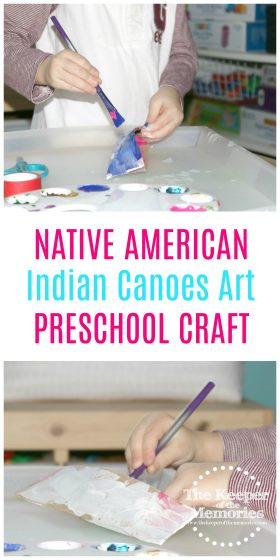 Native American canoes craft images with text: Native American Indian Canoes Art Preschool Craft