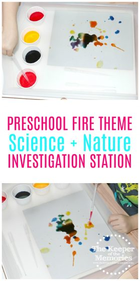 If you're looking for a fun, preschool fire activity, then you're definitely going to want to check this out! Here's a creative, Fire Colors Science & Nature STEAM Investigation Station using paint and eye droppers, which is of course excellent for fine motor skills.