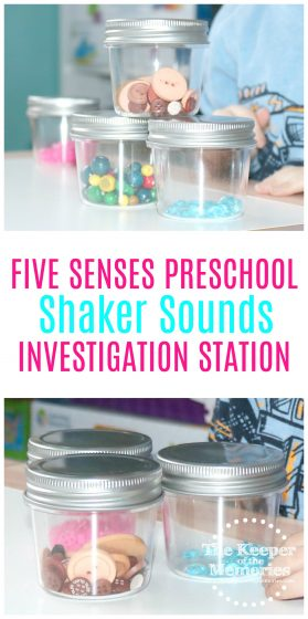 five senses sound jars images with text: Five Senses Preschool Shaker Sounds Investigation Station