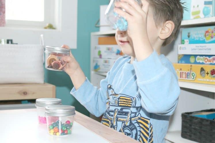 preschooler shaking sound sensory jars