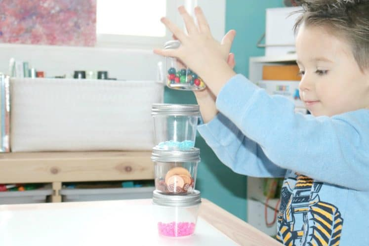 preschooler stacking sound sensory jars