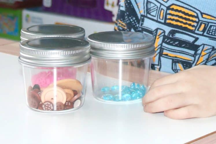 sound sensory jars with beads and buttons