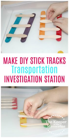 Check out this quick & easy make your own DIY stick train tracks transportation STEAM station activity. It would work great for a preschool transportation theme or even just a fun craft project for your little kids to add to the block center. #preschool #transportation #trains #DIY