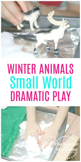 Brr... It's cold outside! If you have a preschooler who loves animals, then you're definitely going to want to check out this awesome Winter Animals Small World Dramatic Play Investigation Station. It's a winner! #preschool #winter #animals
