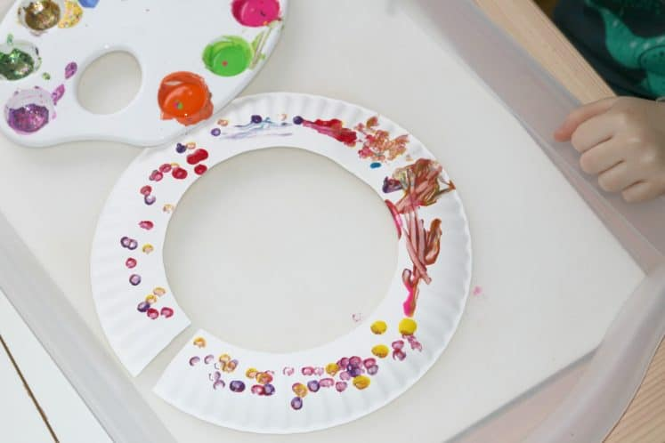 beaded jewelry made from cotton swab painting on a paper plate
