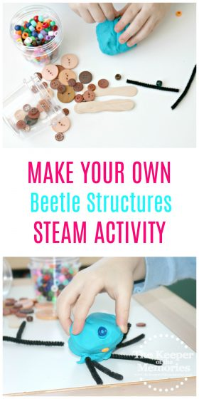 Little kids love to create and of course they love bugs too! Check out this fun preschool safari sensory activity and make your own Beetle Structures using items that you probably already have at home!