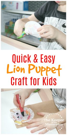 lion paper bag craft with text: Quick & Easy Lion Puppet Craft for Kids