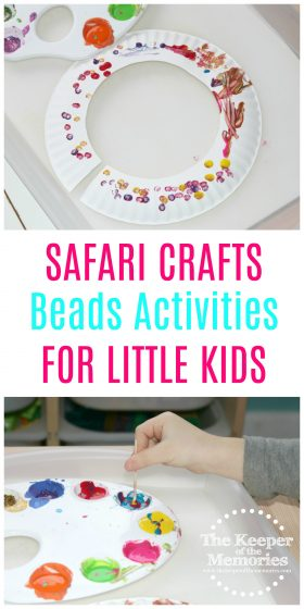 If you're looking for awesome preschool safari crafts, then you're definitely going to want to check out this post. We made an African Necklace from a paper plate and used beads and pipe cleaners to String A Pattern.