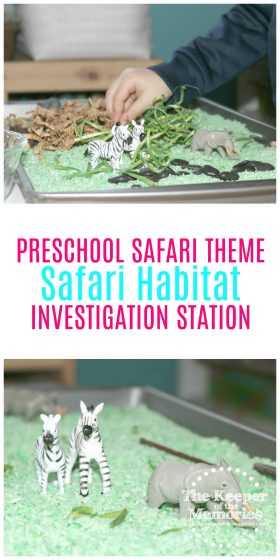 We're going on safari, y'all! And here's a fun preschool safari theme activity to get us started. If you're looking to make your own safari habitat with your little kids, then definitely check out this post for lots of inspiration!