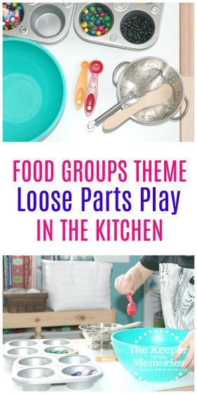 Are you looking for a fun Preschool Food Groups sensory activity? You're not going to want to miss this Loose Parts in the Kitchen Investigation Station. We're using bits and pieces from around the house to explore how to measure & pour with little kids.