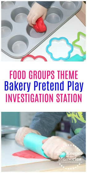 bakery pretend play images with text: Food Groups Theme Bakery Pretend Play Preschool STEAM