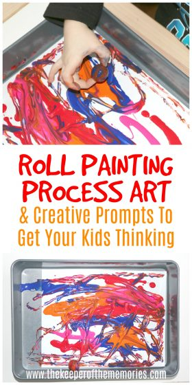 ball painting images with text: Roll Painting Process Art & Creative Prompts to Get Your Kids Thinking