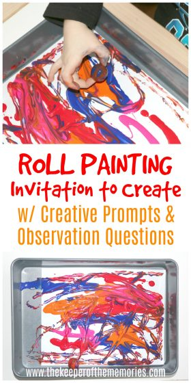 ball painting images with text: Roll Painting Invitation to Create w/ Creative Prompts & Observation Questions