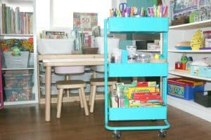 art cart for little kids in kids' art space