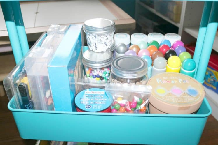 art supplies organized in an art cart