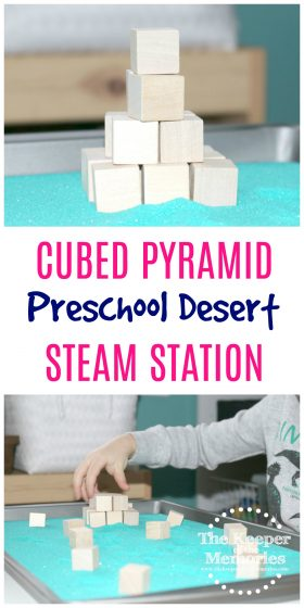 Don't forget to add this quick & easy Cubed Pyramid STEAM Station to your next preschool desert theme. Your little kids will definitely love building their own pyramids just like the ones in Egypt.