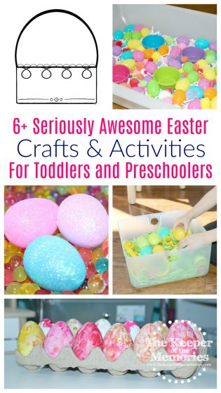 collage of Easter crafts and activities with text: 6+ Seriously Awesome Easter Crafts & Activities for Toddlers & Preschoolers