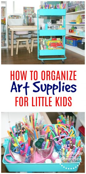 collage of art cart images with text: How to Organize Art Supplies for Little Kids