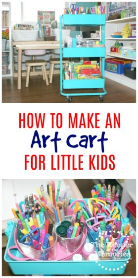 collage of art cart images with text: How To Make An Art Cart for Little Kids