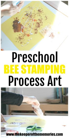 collage of beehive stamping images with text: Preschool Bee Stamping Process Art