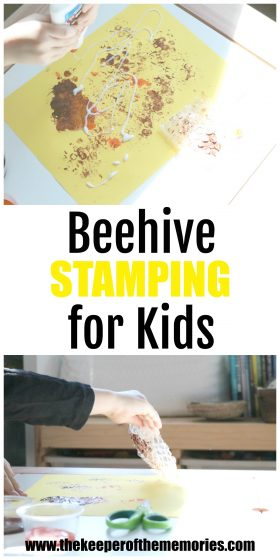 collage of beehive stamping images with text: Beehive Stamping for Kids