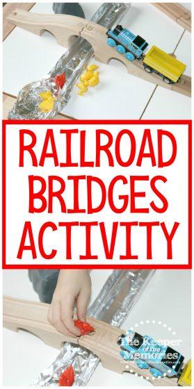 collage of railroad bridges activity images with text: Railroad Bridges Activity