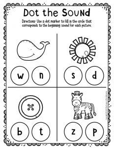 Kindergarten Worksheets Dot the Sound W S B Z