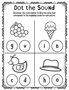 Kindergarten Worksheets Dot the Sound G I D H