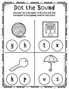 Kindergarten Worksheets Dot the Sound Y X K U