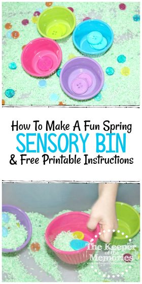 collage of spring sensory bin images with text: How to Make A Fun Spring Sensory Bin & Free Printable Instructions