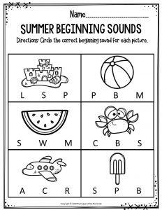 Summer Beginning Sounds