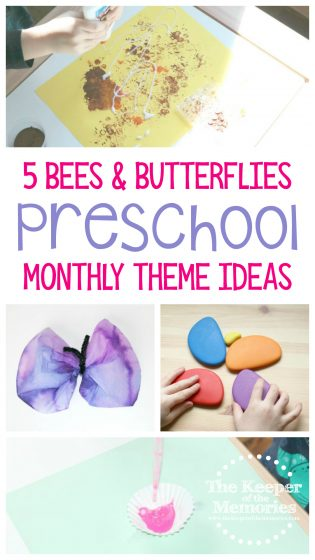 collage of bees and butterfly activities with text: 5 Bees & Butterflies Preschool Monthly Theme Ideas