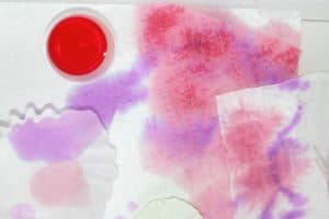 child's butterfly craft using eyedropper, liquid watercolor, and various absorbent household items
