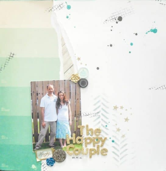 12x12 scrapbook layout featuring embellishment clusters