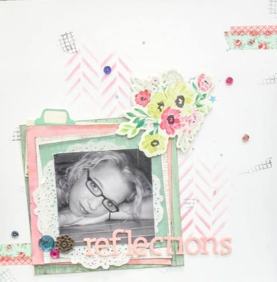 12x12 scrapbook layout featuring journaling hidden behind patterned paper tab
