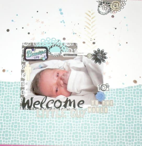 12x12 scrapbook layout featuring a single photo of a newborn baby boy
