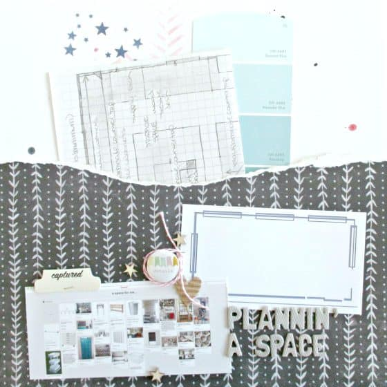 12x12 scrapbook layout featuring memorabilia in a pocket made from patterned paper