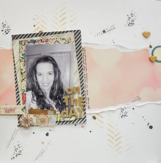 12x12 scrapbook layout featuring a gold title and embellishments to make it sparkle